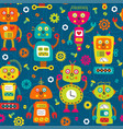seamless pattern with colorful robots on blue back vector image