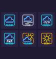 set forecast weather neon vector image