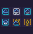set of forecast weather neon vector image vector image