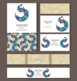 Set of templates for corporate style with swan vector image