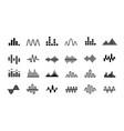 set radio wave icons monochrome simple sound vector image vector image