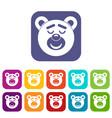 sleeping teddy bear icons set flat vector image vector image