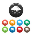 snow cloud holiday icons set color vector image vector image