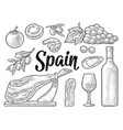 spain traditional food set vintage black vector image