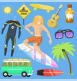 surfing active water sport surfer summer time vector image