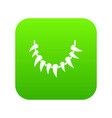 tooth necklace icon green vector image vector image