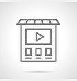video ads on building simple line icon vector image vector image