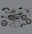 vintage old motorcycle with separated parts vector image vector image