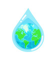 water droplet with earth globe inside vector image vector image