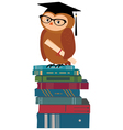 Wise owl and books vector image vector image