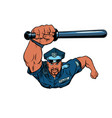 african police officer with a baton vector image vector image