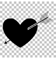 Arrow heart sign Flat style black icon on vector image vector image