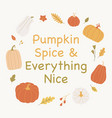 autumn mood design with leaves and pumpkins vector image vector image