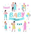 baby shower pregnant mother flat characters vector image vector image
