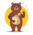 bear character eating honey vector image vector image