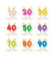 birthday anniversary set candles colorful numbers vector image