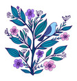 blue bird sits on a flowering branch with flowered vector image vector image