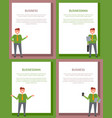 businessman and business set of bright posters vector image vector image