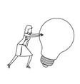 businesswoman pushing a big light bulb monochrome vector image vector image