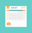 calendar august 2019 year in simple style vector image vector image
