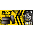 car tires shop banner with discount offer yellow vector image