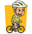 cartoon fat boy character riding on bicycle vector image vector image