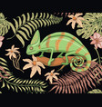 chameleon lizard tropical flowers seamless vector image