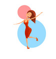 cheerful dancing woman vector image vector image