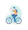 city style man riding on a bicycle line vector image