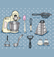 color hand-drawn artwork kitchen utensils vector image