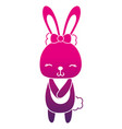 color silhouette cute and shy rabbit female wild vector image vector image