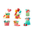 colorful bags boxes and baskets with holiday vector image vector image