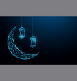 crescent moon with hanging lamps islamic festival vector image