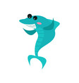 cute cheerful shark cartoon character funny blue vector image