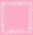 decorative square frame of white outline flowers vector image vector image