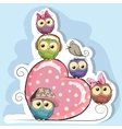 Five Owls is sitting on a heart vector image vector image