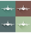Flat long shadow air plane vector image vector image