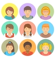 Flat Style Happy Smiling Different Races Kids vector image
