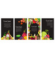 flyer collection with exotic tropical fruits vector image