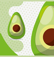 fresh vegetable avocado on dots background vector image