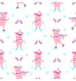 funny hog on skates cute piggy skiing piglets on vector image vector image
