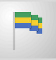 gabon waving flag creative background vector image vector image