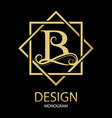 golden letter b monogram on black vector image