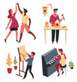 hoband art dancing and carpentry painting and vector image vector image