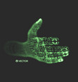 human arm hand model connection structure 3d grid vector image vector image