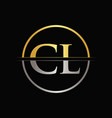 initial gold and silver color cl letter logo vector image vector image
