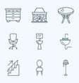 interior icons line style set with coffee table vector image