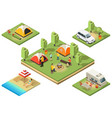 isometric camping territory composition vector image vector image