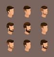 isometric set mens hairstyles hipster style vector image