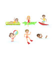 kids swimming and floating on inflatable toys in vector image vector image
